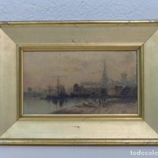 Arte: VISTA PORTUARIA - OLEO TELA - SIGLO XIX - PRECIOSO MARCO DE LA EPOCA.. Lote 178153852