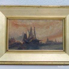Arte: VISTA PORTUARIA - OLEO TELA - SIGLO XIX - PRECIOSO MARCO DE LA EPOCA.. Lote 178154750