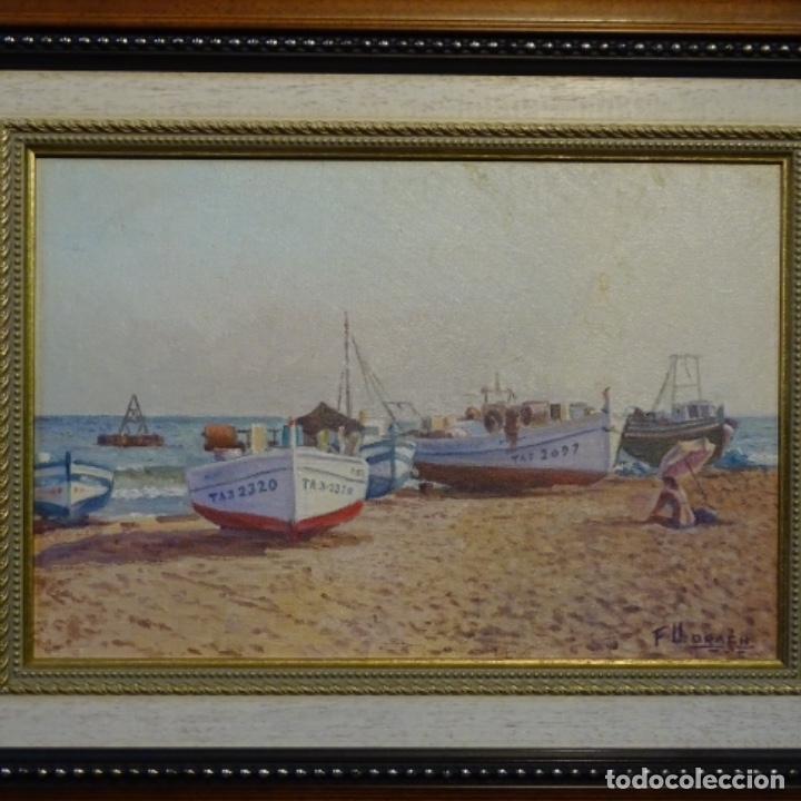 OLEO DE FRANCESC LLORACH I BALCELLS (TORREDEMBARRA 1914-2006).BARCAS EN LA PLAYA. (Arte - Pintura - Pintura al Óleo Contemporánea )