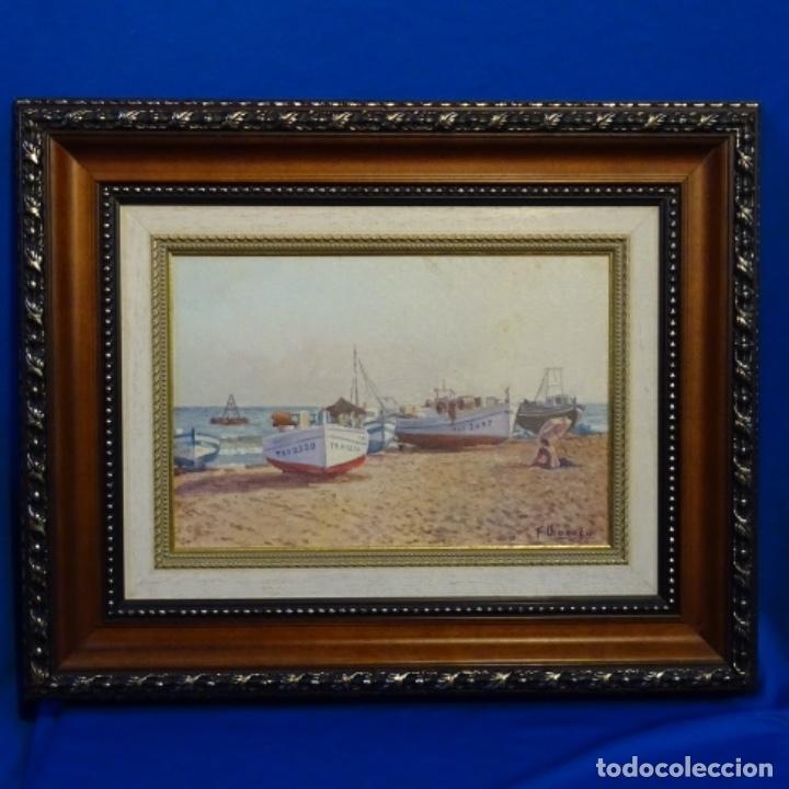 Arte: Oleo de Francesc llorach i balcells (torredembarra 1914-2006).barcas en la playa. - Foto 2 - 178160005