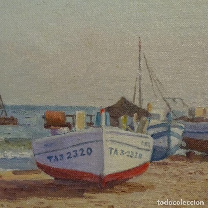 Arte: Oleo de Francesc llorach i balcells (torredembarra 1914-2006).barcas en la playa. - Foto 3 - 178160005