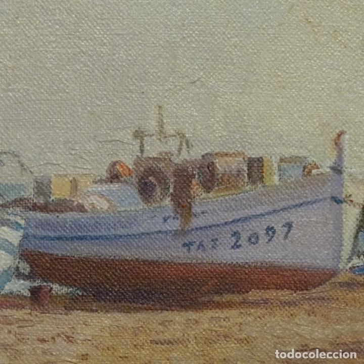 Arte: Oleo de Francesc llorach i balcells (torredembarra 1914-2006).barcas en la playa. - Foto 4 - 178160005