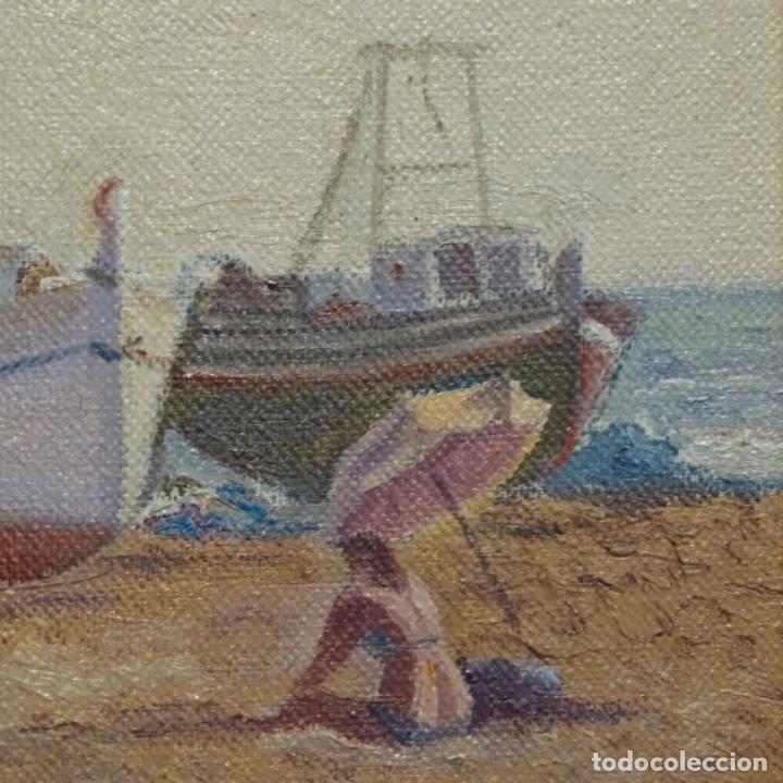 Arte: Oleo de Francesc llorach i balcells (torredembarra 1914-2006).barcas en la playa. - Foto 5 - 178160005