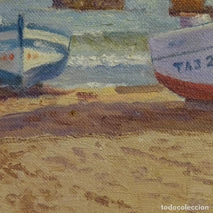Arte: Oleo de Francesc llorach i balcells (torredembarra 1914-2006).barcas en la playa. - Foto 6 - 178160005