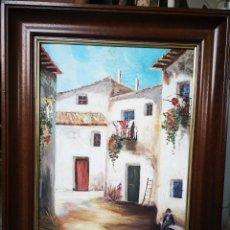 Arte: VISTA DE PUEBLO, CALLE, OLEO SOBRE LIENZO, ENMARCADO, FIRMADO 44X57CM. Lote 178282298