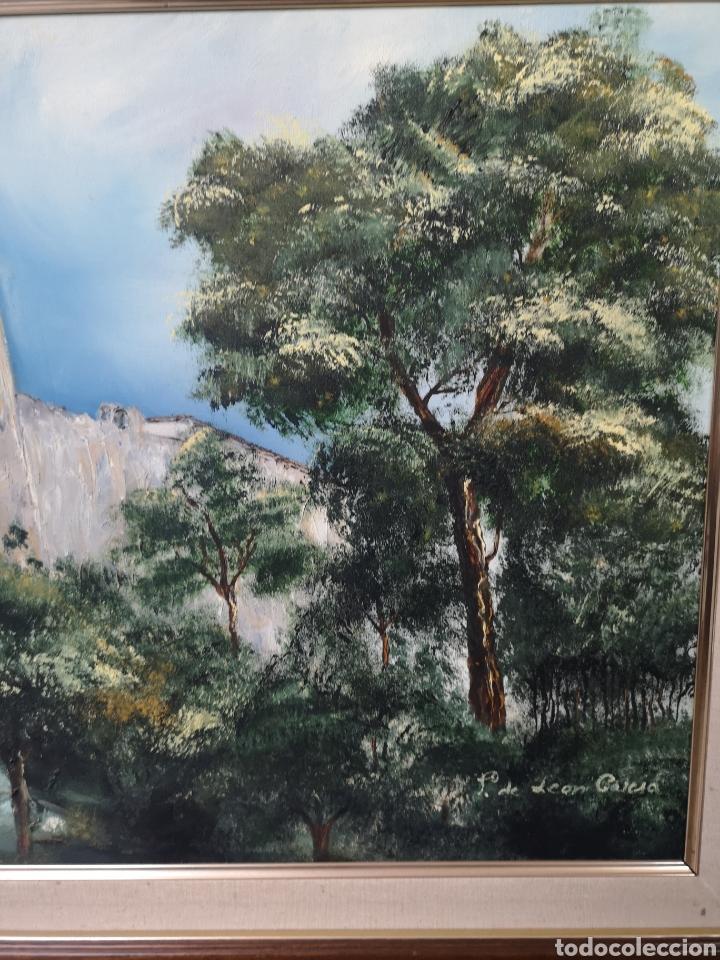 Arte: Oleo sobre lienzo, paisaje con castillo, firmado. Enmarcado 72x63 - Foto 2 - 178282385