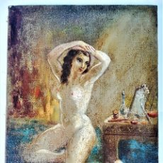 Arte: PINTURA EROTICA FRANCESA,SIGLO XIX,MUJER DESNUDA FRENTE AL ESPEJO,FIRMADA PINTOR LESIEUR,EROTISMO. Lote 178287133