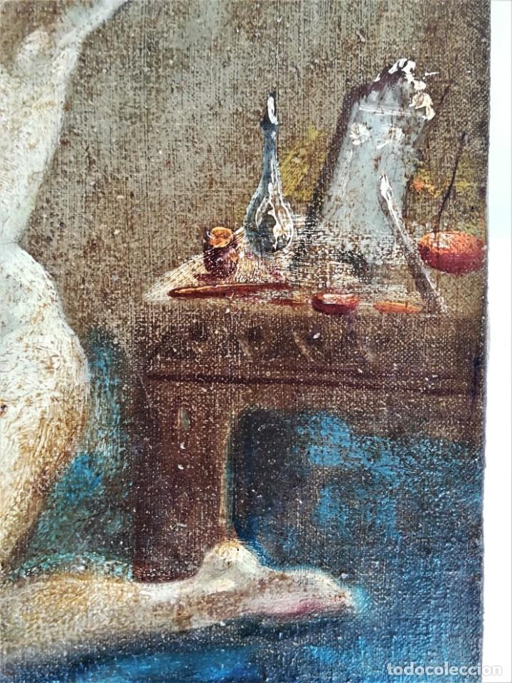 Arte: PINTURA EROTICA FRANCESA,SIGLO XIX,MUJER DESNUDA FRENTE AL ESPEJO,FIRMADA PINTOR LESIEUR,EROTISMO - Foto 4 - 178287133