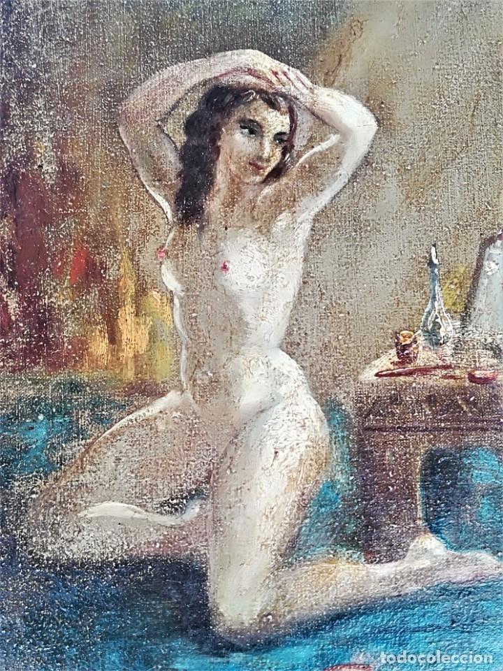 Arte: PINTURA EROTICA FRANCESA,SIGLO XIX,MUJER DESNUDA FRENTE AL ESPEJO,FIRMADA PINTOR LESIEUR,EROTISMO - Foto 5 - 178287133