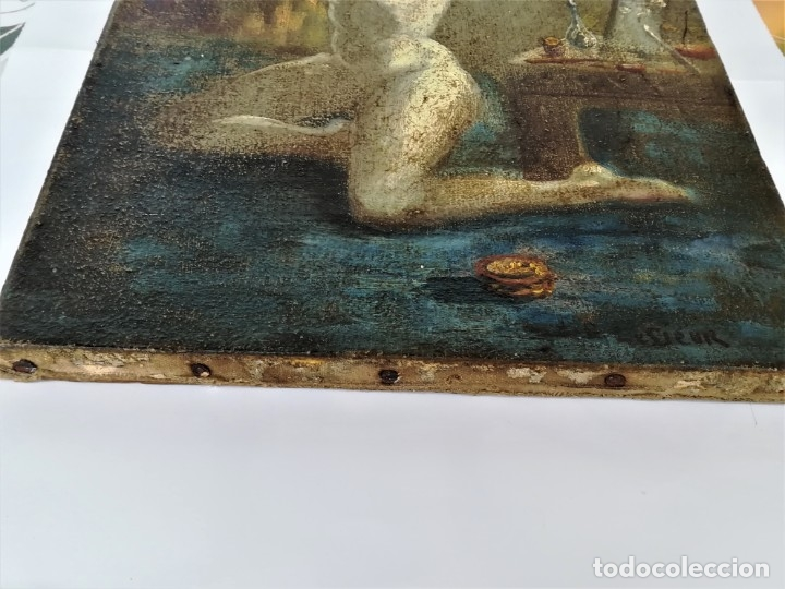 Arte: PINTURA EROTICA FRANCESA,SIGLO XIX,MUJER DESNUDA FRENTE AL ESPEJO,FIRMADA PINTOR LESIEUR,EROTISMO - Foto 7 - 178287133