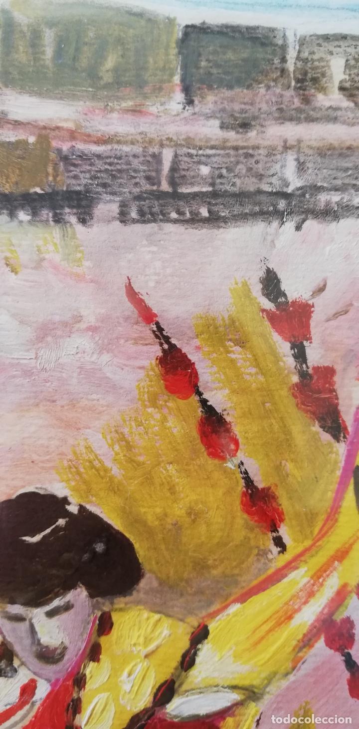 Arte: Pintura taurina óleo sobre papel, F. Soriano, tauromaquia, - Foto 2 - 178289443