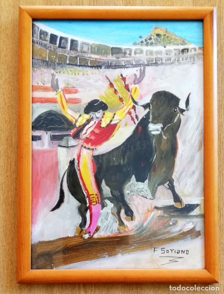 Arte: Pintura taurina óleo sobre papel, F. Soriano, tauromaquia, - Foto 3 - 178289443