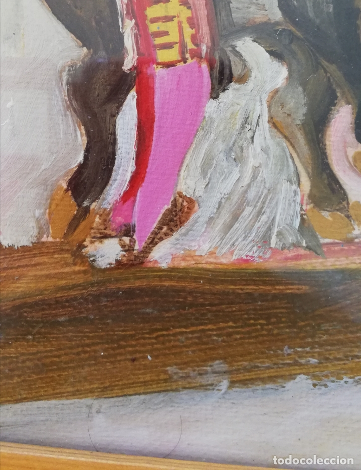 Arte: Pintura taurina óleo sobre papel, F. Soriano, tauromaquia, - Foto 5 - 178289443
