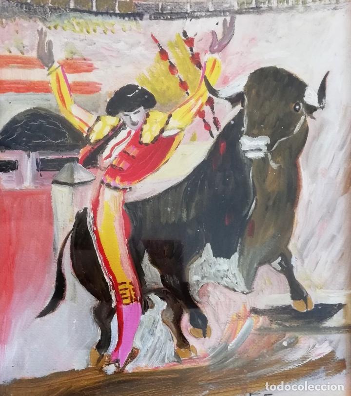 PINTURA TAURINA ÓLEO SOBRE PAPEL, F. SORIANO, TAUROMAQUIA, (Arte - Pintura - Pintura al Óleo Contemporánea )