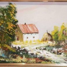 Arte: PAISAJE AL ÓLEO - SIN FIRMA - PASPARTOUT / ENMARCADO. MEDIDA TOTAL 43 X 38 CM.. Lote 178296813