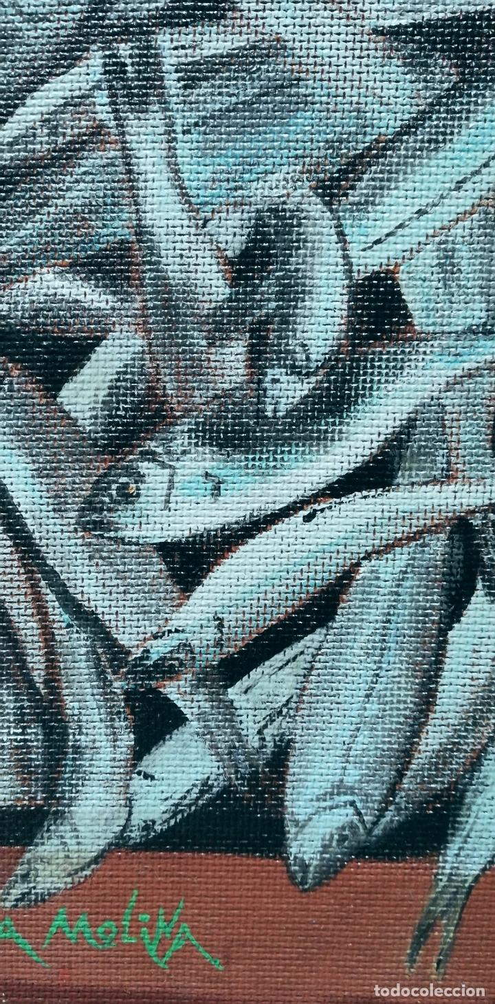 Arte: Pintura óleo sobre tablex pescados - Foto 2 - 178301777