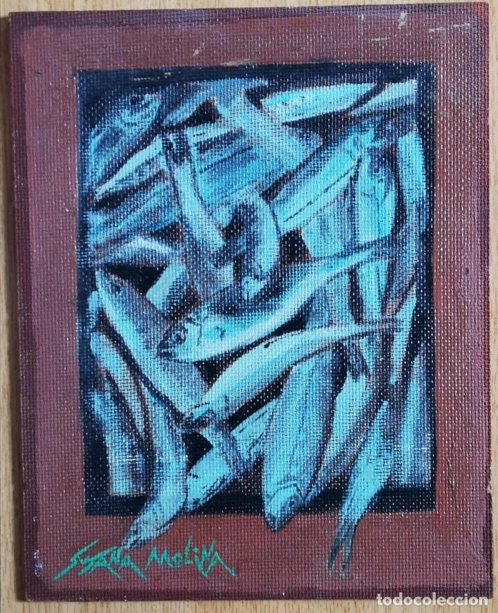 Arte: Pintura óleo sobre tablex pescados - Foto 5 - 178301777