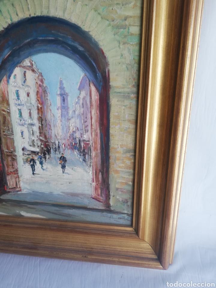 Arte: Cuadro con pintura sobre tela a mano firmada y marco de madera dorada - Foto 2 - 178358710