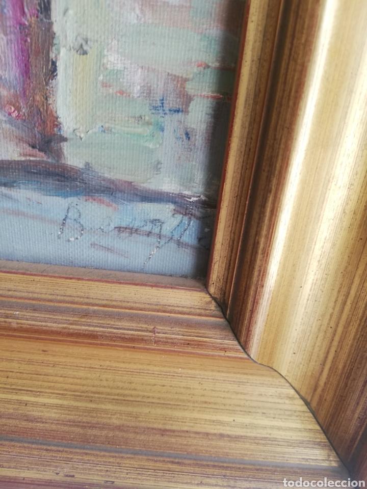 Arte: Cuadro con pintura sobre tela a mano firmada y marco de madera dorada - Foto 3 - 178358710