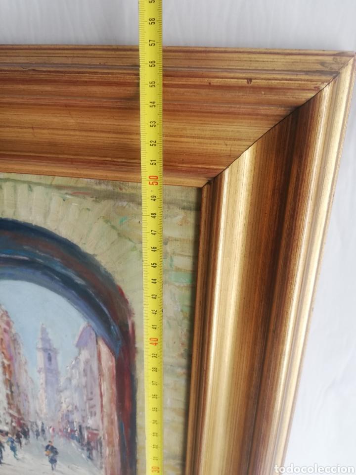 Arte: Cuadro con pintura sobre tela a mano firmada y marco de madera dorada - Foto 5 - 178358710