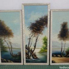 Arte: ANTIGUO LOTE CUADROS PINTURA SOBRE MADERA PAISAJES. Lote 178383816