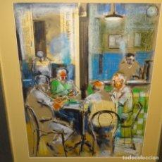 """Arte: PASTEL-COLLAGE DE JAUME QUERALT.""""LA PARTIDA DE CARTAS""""BIEN ENMARCADO Y CONSERVADO.2004.. Lote 178391406"""