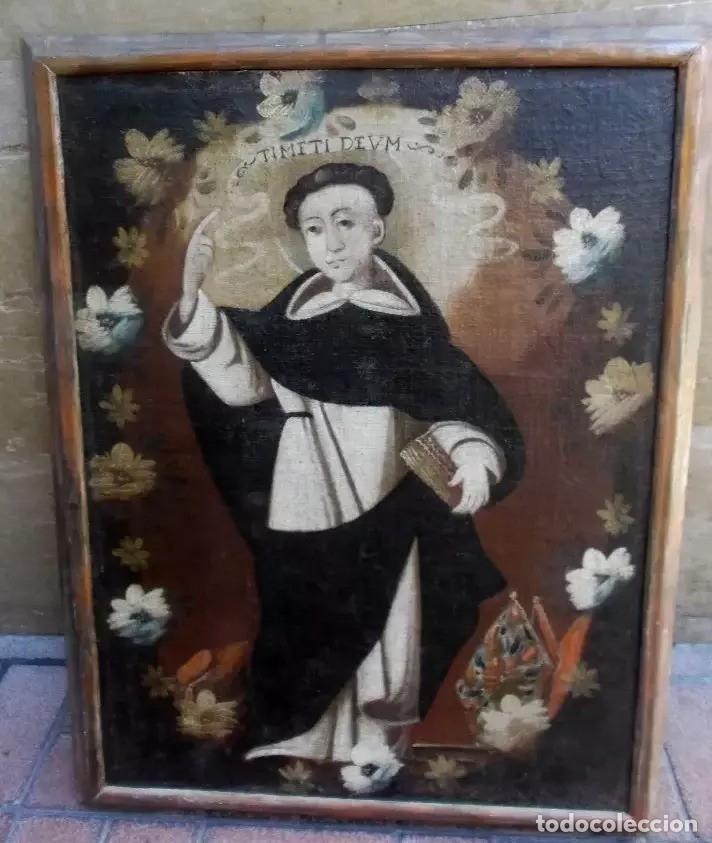 Arte: Antiguo óleo sobre lienzo de San Vicente Ferrer. Siglo XVII. 93x73 cm - Foto 6 - 178568201