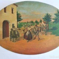 Arte: PINTURA VALENCIANA SIGLO XIX,OLEO SOBRE TABLA PAREJAS BAILANDO EN EL CAMPO,JUNTO A BARRACAS,VALENCIA. Lote 178593510