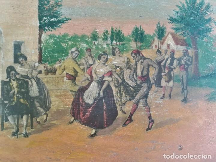 Arte: PINTURA VALENCIANA SIGLO XIX,OLEO SOBRE TABLA PAREJAS BAILANDO EN EL CAMPO,JUNTO A BARRACAS,VALENCIA - Foto 3 - 178593510