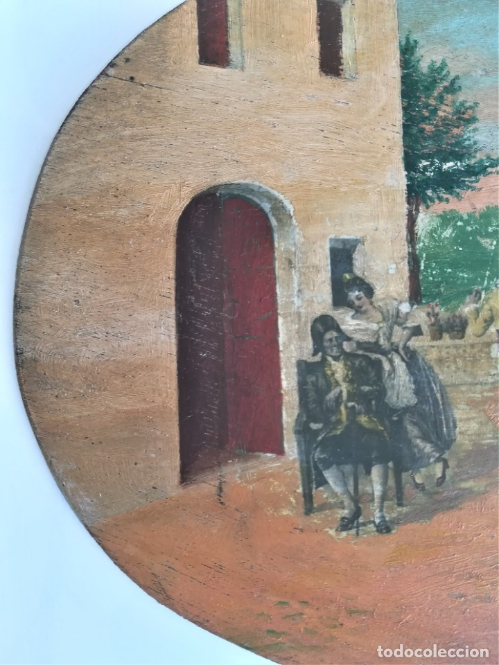 Arte: PINTURA VALENCIANA SIGLO XIX,OLEO SOBRE TABLA PAREJAS BAILANDO EN EL CAMPO,JUNTO A BARRACAS,VALENCIA - Foto 4 - 178593510