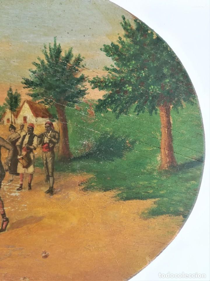 Arte: PINTURA VALENCIANA SIGLO XIX,OLEO SOBRE TABLA PAREJAS BAILANDO EN EL CAMPO,JUNTO A BARRACAS,VALENCIA - Foto 5 - 178593510