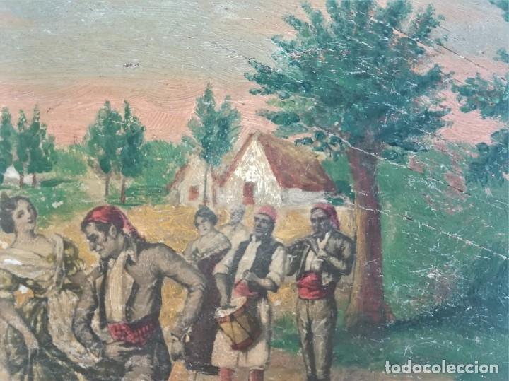 Arte: PINTURA VALENCIANA SIGLO XIX,OLEO SOBRE TABLA PAREJAS BAILANDO EN EL CAMPO,JUNTO A BARRACAS,VALENCIA - Foto 6 - 178593510