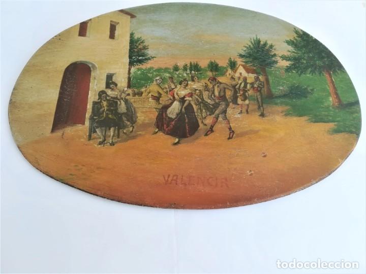 Arte: PINTURA VALENCIANA SIGLO XIX,OLEO SOBRE TABLA PAREJAS BAILANDO EN EL CAMPO,JUNTO A BARRACAS,VALENCIA - Foto 9 - 178593510