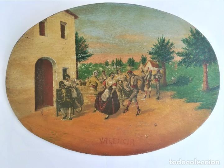 Arte: PINTURA VALENCIANA SIGLO XIX,OLEO SOBRE TABLA PAREJAS BAILANDO EN EL CAMPO,JUNTO A BARRACAS,VALENCIA - Foto 10 - 178593510