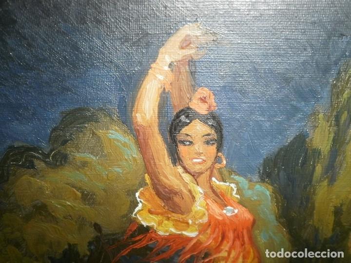 Arte: PINTURA AL OLEO DE FLAMENCA. FIRMADA - Foto 2 - 178603271