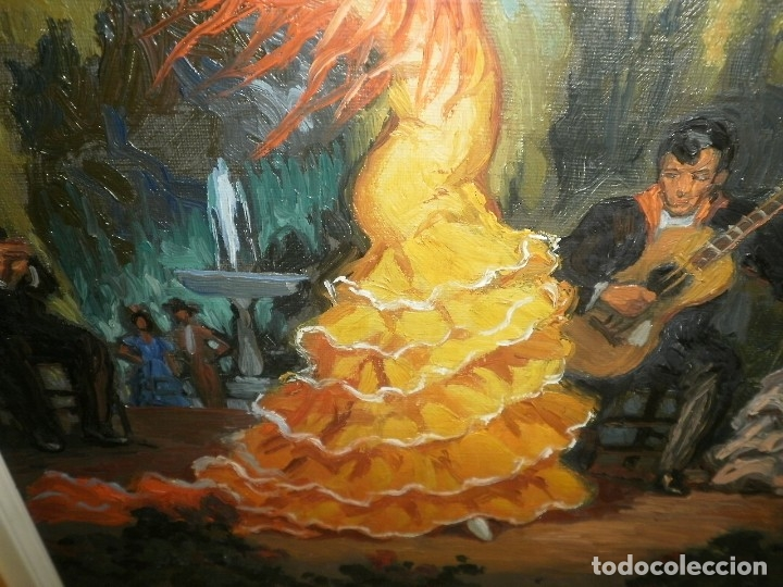 Arte: PINTURA AL OLEO DE FLAMENCA. FIRMADA - Foto 3 - 178603271