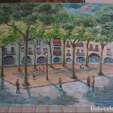 Arte: OLEO SOBRE TELA. PLAÇA MAJOR DE BANYOLES, GIRONA. J.JUAN RIBÓ. 1975.. Lote 178719572