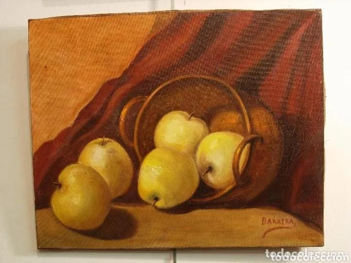 PINTURA BODEGON MANZANAS. ANTIGUA FIRMADA BARRERA (Arte - Pintura - Pintura al Óleo Antigua sin fecha definida)