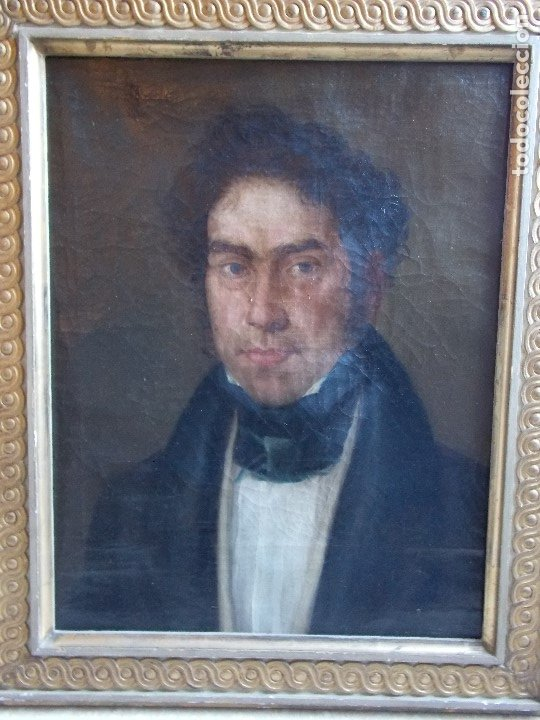 ANTIGUO RETRATO OLEO SOBRE LIENZO SIGLO XIX (Arte - Pintura - Pintura al Óleo Moderna siglo XIX)