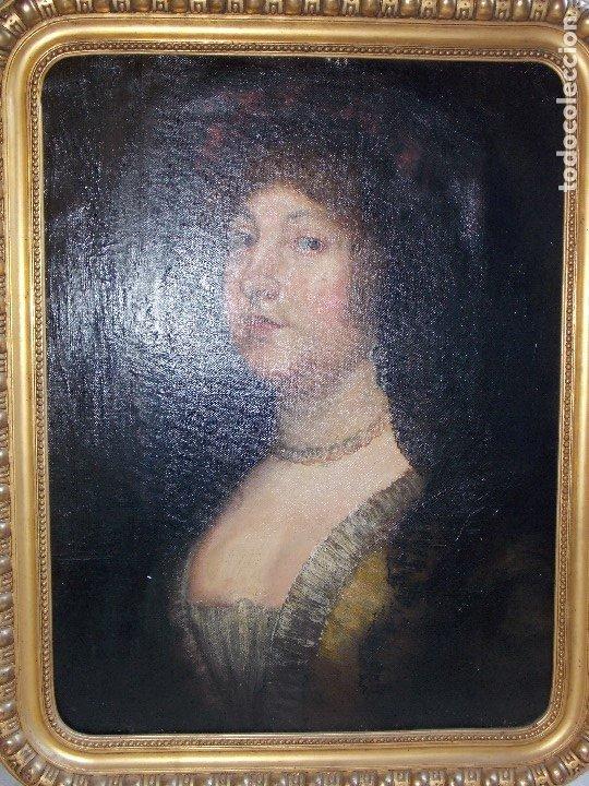 ANTIGUO OLEO SOBRE LIENZO RETRATO XVIII (Arte - Pintura - Pintura al Óleo Antigua siglo XVIII)