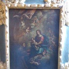 Arte: ANTIGUO OLEO SOBRE LIENZO SIGLO XVIII VIRGEN CON SANTOS. Lote 178804768