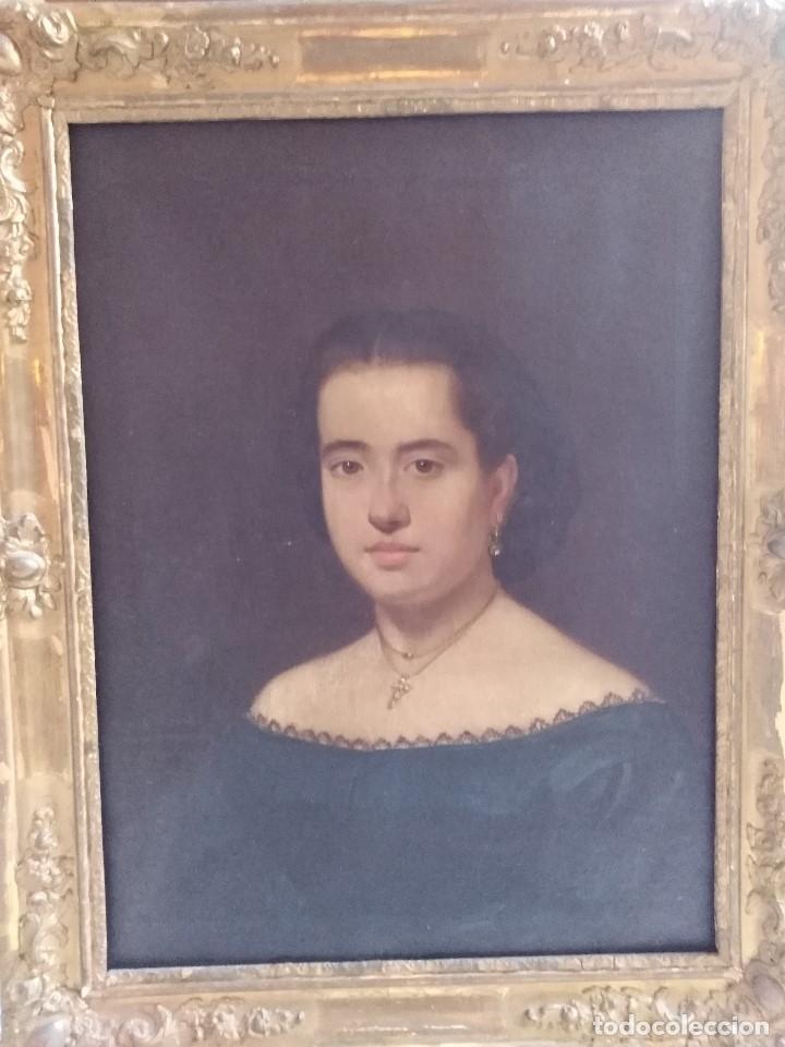 ANTIGUO OLEO SOBRE LIENZO SIGLO XIX RETRATO DAMA (Arte - Pintura - Pintura al Óleo Moderna siglo XIX)