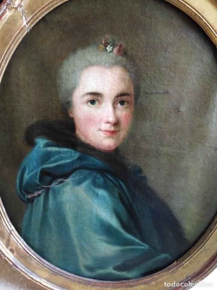 ANTIGUO OLEO SOBRE LIENZO SIGLO XVIII RETRATO ESCUEL A FRANCESA (Arte - Pintura - Pintura al Óleo Antigua siglo XVIII)