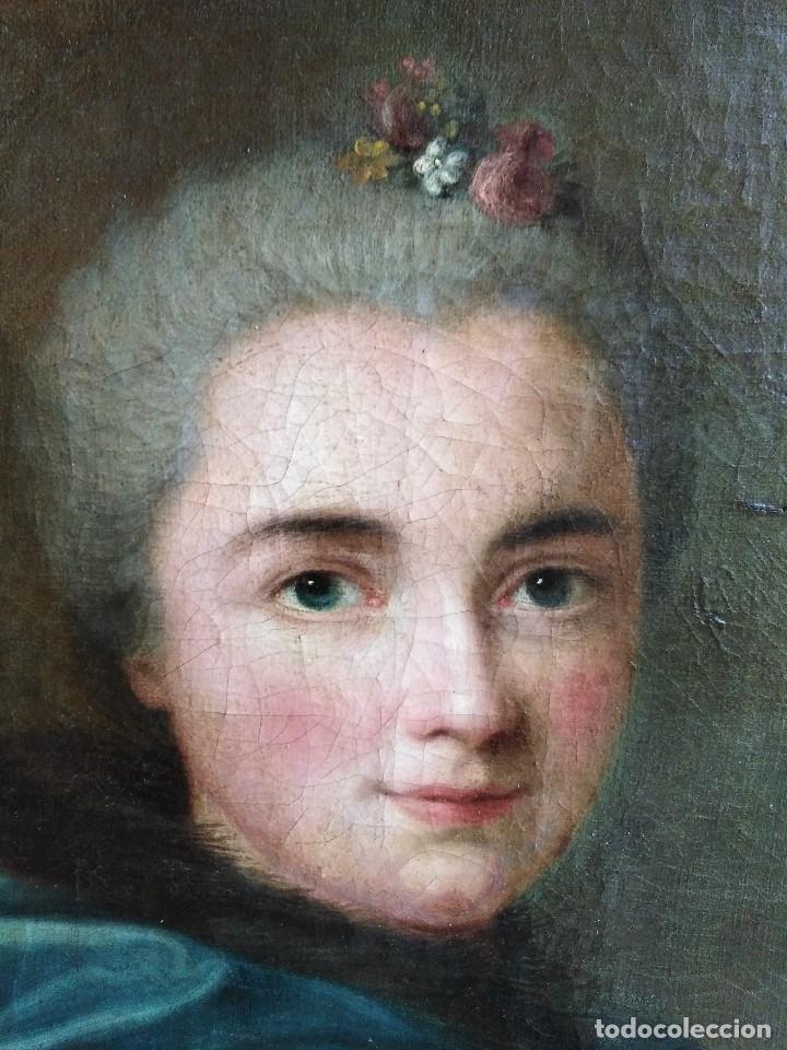 Arte: ANTIGUO OLEO SOBRE LIENZO SIGLO XVIII RETRATO ESCUEL A FRANCESA - Foto 2 - 178807386