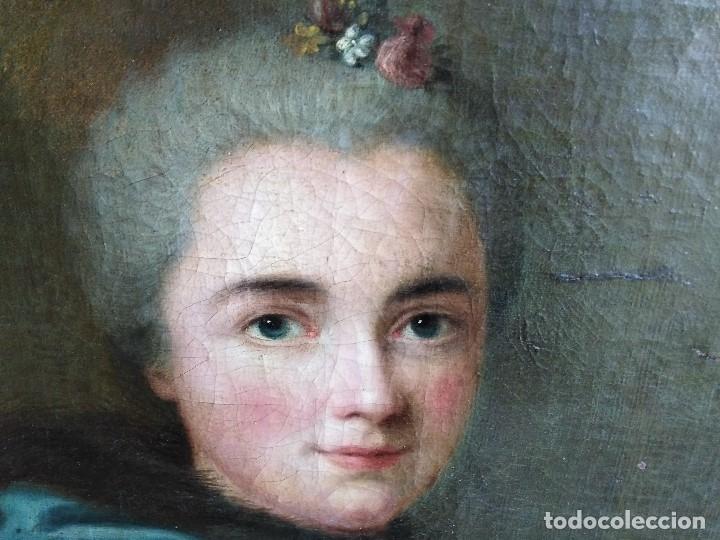 Arte: ANTIGUO OLEO SOBRE LIENZO SIGLO XVIII RETRATO ESCUEL A FRANCESA - Foto 6 - 178807386