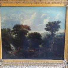 Arte: ANTIGUO OLEO SOBRE LIENZO SIGLO XVIII PAISAJE FRANCES. Lote 178808941