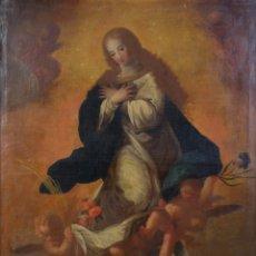 Arte: ÓLEO SOBRE LIENZO VIRGEN PURÍSIMA PRINCIPIOS SIGLO XVIII ESCUELA ESPAÑOLA . Lote 178812040