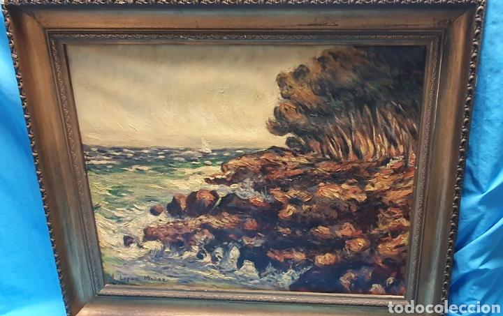 Arte: Preciosa y antigua marina en oleo sobre lienzo por a. Lopez Muñoz 66.5 x 55.5 cm contando el marco - Foto 2 - 178818292