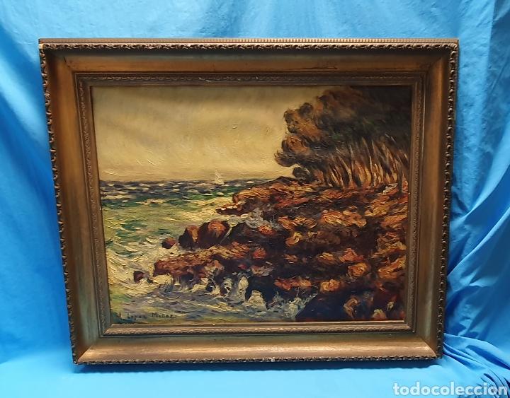 Arte: Preciosa y antigua marina en oleo sobre lienzo por a. Lopez Muñoz 66.5 x 55.5 cm contando el marco - Foto 3 - 178818292