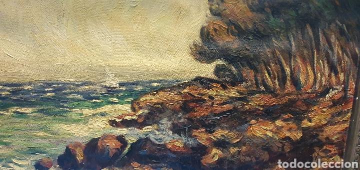 Arte: Preciosa y antigua marina en oleo sobre lienzo por a. Lopez Muñoz 66.5 x 55.5 cm contando el marco - Foto 4 - 178818292